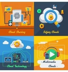 Cloud service 2x2 design concept vector