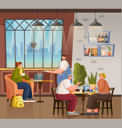Coffeehouse with visitors and clients interior vector