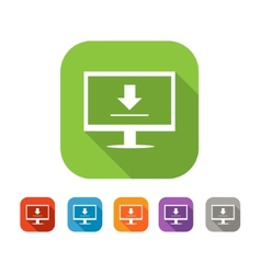 Color set of flat uploading data icon vector