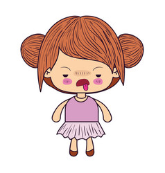 Colorful caricature little girl with double vector