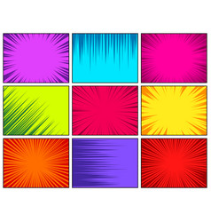 Comic book colorful radial lines collection vector