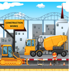 construction works along the street vector image