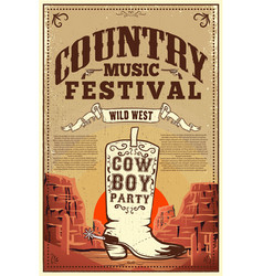 country music festival poster party flyer with vector image