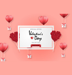 creative valentines day sale background with hot vector image