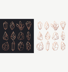 Crystals and diamonds gems and rocks contour vector