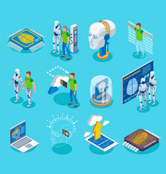 cyborg isometric icons collection vector image