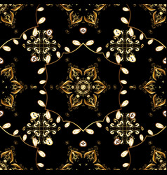 damask gold abstract flower seamless pattern on vector image