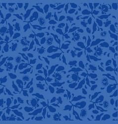 Dark blue folk art floral pattern vector