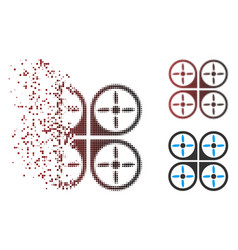 Decomposed pixel halftone copter icon vector