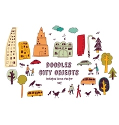 Doodles urban city life isolate objects color set vector image