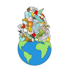 Earth garbage dump planet and garbage scrapyard vector