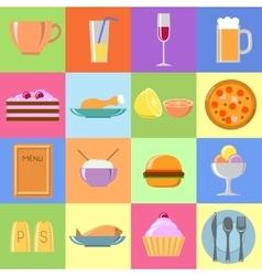 Flat food icons Set vector image