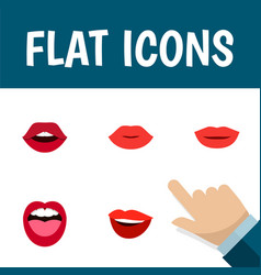 flat icon lips set of teeth lipstick tongue and vector image