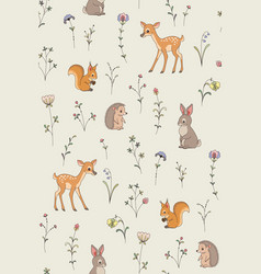 forest animals pattern vector image