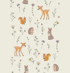 Forest animals pattern vector
