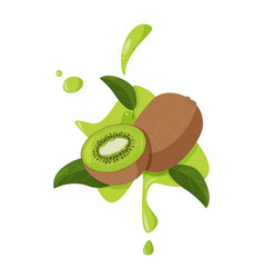 Fresh kiwi fruit with green leaves and juicy vector