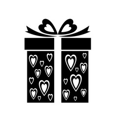 Gift icon with heart pattern sign gift box vector