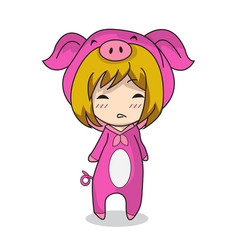 Girl character design mascot pig vector