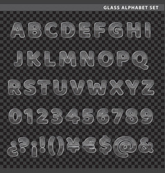 Glass alphabet set vector