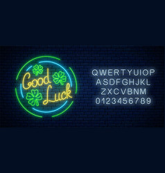 glowing neon sign with geed luck wish and vector image