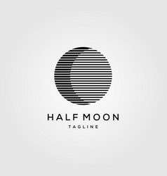 Half moon line art logo template icon design vector