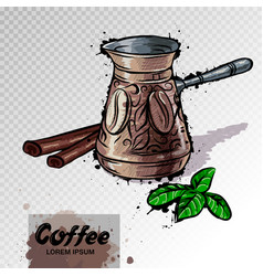 Hand drawn of coffee turk or hot chocolate vector