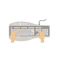 hands on computer keyboard people working with vector image