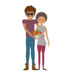 happy couple romantic bouquet flower vector image