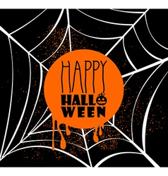 Happy Halloween pumpkin text over spider web EPS10 vector