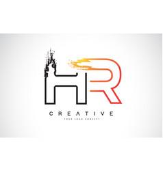 Hr creative modern logo design with orange and vector