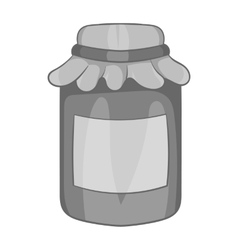 Jam in a glass jar icon black monochrome style vector image