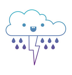 Kawaii cloud with rain and thunderbolt in degraded vector