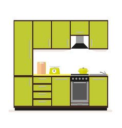 kitchen set modern kitchen furniture in a flat vector image vector image
