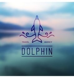 Logo of dolphin and waves vector