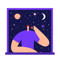 man with cup tea coffee in starry sky vector image