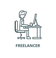man working on table at homefreelancer vector image