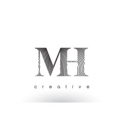 mh logo design with multiple lines and black and vector image