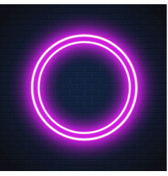 Neon purple circle frame sign brick wall vector