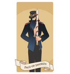 page or knave of swords with top hat holding a vector image