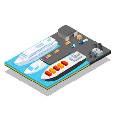 Pier concept banner isometric style vector