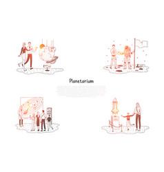 Planetarium - people in planetarium vector