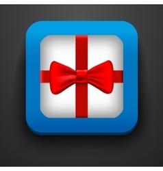 Present symbol icon on blue vector