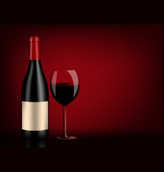 Red wine bottle and glass on black and red vector
