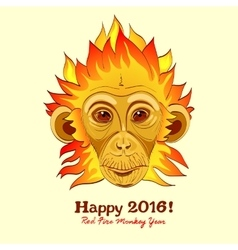 Redhead Fire Monkey as New 2016 Year symbol vector