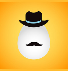 retro easter egg with hat and mustache vector image