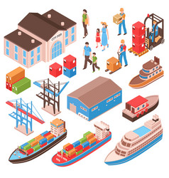 Sea port isometric set vector