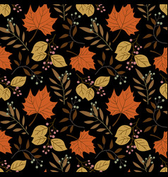 seamless forest pattern with acorns and autumn vector image