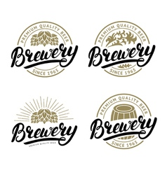 set brewery hand written lettering logo label vector image