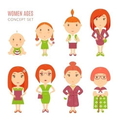 Set cute pretty women age flat icons vector