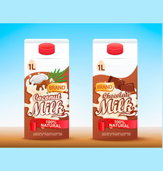 set of 2 milk tetra packs with different tastes vector image